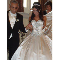 Ball-Gown Sweetheart Royal Train Wedding Dresses With Ruffle Beading (002147963)