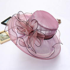 Organza With Silk Flower Floppy Hat Charming Ladies' Hats
