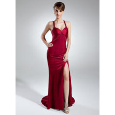 Trumpet/Mermaid Sweetheart Sweep Train Evening Dresses With Beading Split Front (017016015)