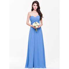 A-Line/Princess Sweetheart Floor-Length Chiffon Bridesmaid Dress With Ruffle (007068365)