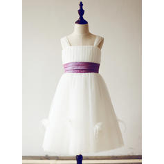 Simple Straps A-Line/Princess Flower Girl Dresses Knee-length Tulle Sleeveless (010210152)