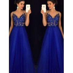 A-Line/Princess V-neck Floor-Length Tulle Evening Dresses With Lace Beading Appliques Lace