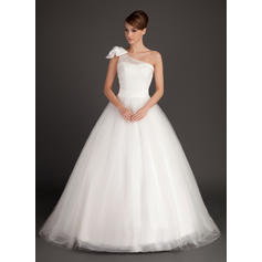 Delicate One Shoulder Ball-Gown Wedding Dresses Sweep Train Tulle Sleeveless (002196893)