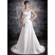 A-Line/Princess Sweetheart Court Train Wedding Dresses With Ruffle Beading (002211256)