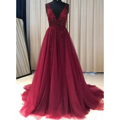 A-Line/Princess V-neck Sweep Train Prom Dresses With Ruffle Beading