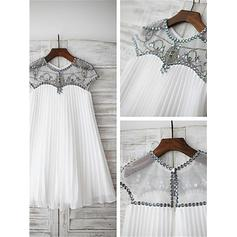 A-Line/Princess Scoop Neck Knee-length With Beading/Appliques Tulle Flower Girl Dresses