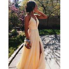 A-Line/Princess V-neck Floor-Length Prom Dresses With Ruffle Split Front