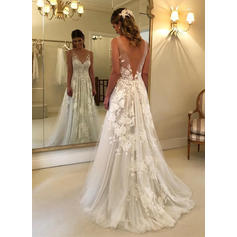 A-Line/Princess V-neck Sweep Train Wedding Dresses With Appliques Lace