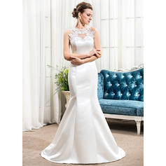 Flattering Scoop Trumpet/Mermaid Wedding Dresses Sweep Train Satin Sleeveless (002210569)
