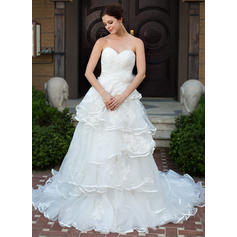 A-Line/Princess Sweetheart Chapel Train Wedding Dresses With Lace Beading Flower(s) Bow(s) Cascading Ruffles (002210508)
