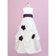 Delicate Scoop Neck A-Line/Princess Flower Girl Dresses Floor-length Satin Sleeveless