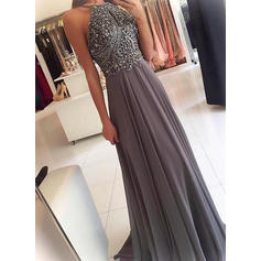 A-Line/Princess Sweep Train Prom Dresses Scoop Neck Chiffon Sleeveless