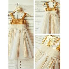 A-Line/Princess Square Neckline Tea-length With Pleated Tulle/Sequined Flower Girl Dresses