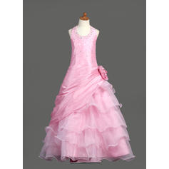 Chic Scoop Neck Ball Gown Flower Girl Dresses Floor-length Taffeta/Organza Sleeveless (010005778)