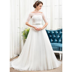 Off-The-Shoulder A-Line/Princess Wedding Dresses Tulle Ruffle Beading Sequins Chapel Train