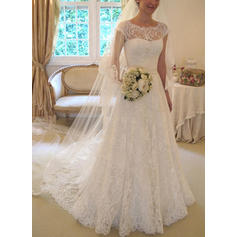 A-Line/Princess Lace Sleeveless Scoop Square Court Train Wedding Dresses
