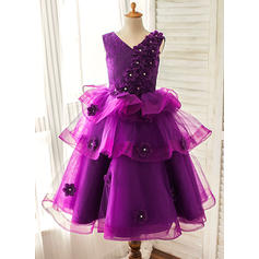 A-Line/Princess V-neck Floor-length With Flower(s) Organza/Satin Flower Girl Dresses