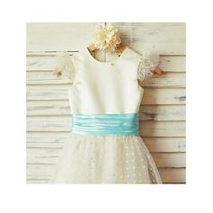 blue and gold flower girl dresses