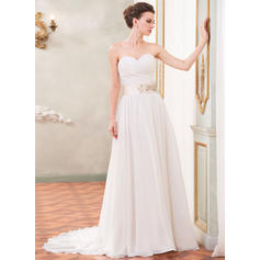 A-Line/Princess Sweetheart Court Train Wedding Dresses With Ruffle Sash Beading Sequins (002210571)
