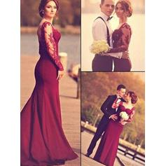 Trumpet/Mermaid Sweetheart Floor-Length Evening Dresses With Appliques Lace