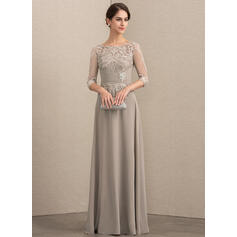 A-Line Scoop Neck Floor-Length Chiffon Lace Evening Dress With Crystal Brooch Sequins