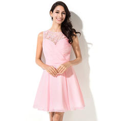 A-Line/Princess Scoop Neck Short/Mini Chiffon Homecoming Dresses With Ruffle Beading Flower(s) Sequins (022214007)