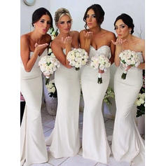 Sheath/Column Sweetheart Sweep Train Bridesmaid Dresses (007144957)