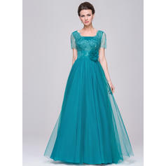 A-Line/Princess Tulle Lace Short Sleeves V-neck Floor-Length Zipper Up Mother of the Bride Dresses