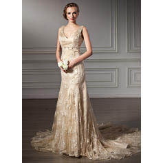 Trumpet/Mermaid Halter Chapel Train Wedding Dresses With Beading