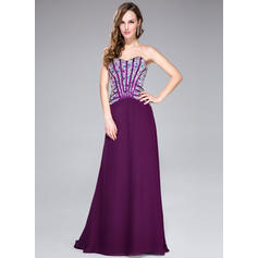 A-Line/Princess Sweetheart Sweep Train Prom Dresses With Beading (018044961)
