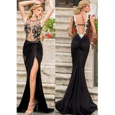 Luxurious Jersey Evening Dresses Trumpet/Mermaid Sweep Train Scoop Neck Sleeveless