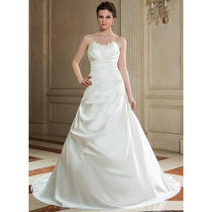A-Line/Princess Satin Sleeveless Scalloped-Edge Chapel Train Wedding Dresses (002000605)