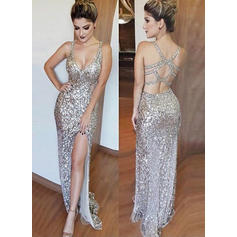 Sheath/Column V-neck Floor-Length Sequined Prom Dresses With Split Front
