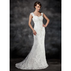 A-Line/Princess Sweetheart Sweep Train Wedding Dresses With Beading Appliques Lace Sequins (002196822)