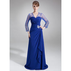 A-Line/Princess Chiffon 3/4 Sleeves V-neck Court Train Zipper Up Mother of the Bride Dresses (008006176)
