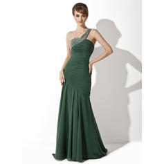 Trumpet/Mermaid Chiffon Sleeveless One-Shoulder Sweep Train Zipper Up at Side Mother of the Bride Dresses (008211100)