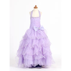Modern Scoop Neck Ball Gown Flower Girl Dresses Floor-length Organza/Charmeuse Sleeveless (010007321)