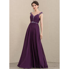 A-Line V-neck Floor-Length Chiffon Mother of the Bride Dress With Ruffle Beading Sequins