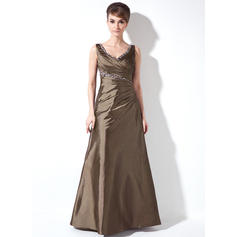 A-Line/Princess Taffeta Sleeveless V-neck Floor-Length Zipper Up at Side Mother of the Bride Dresses