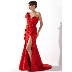 Trumpet/Mermaid One-Shoulder Court Train Evening Dresses With Ruffle Flower(s) Split Front (017200400)