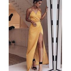 Sheath/Column V-neck Floor-Length Evening Dresses With Ruffle Sash Split Front