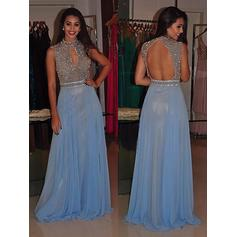 A-Line/Princess Chiffon Prom Dresses Beading High Neck Sleeveless Sweep Train (018148467)