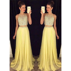 Delicate Chiffon Evening Dresses A-Line/Princess Floor-Length Scoop Neck Sleeveless (017210910)