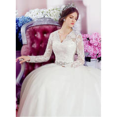 Stunning V-neck A-Line/Princess Wedding Dresses Chapel Train Tulle Long Sleeves