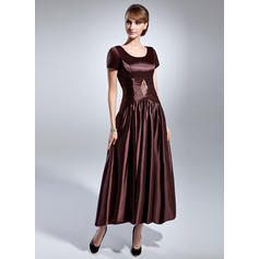 A-Line/Princess Charmeuse Short Sleeves Scoop Neck Ankle-Length Zipper Up Mother of the Bride Dresses (008211379)