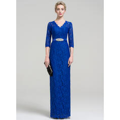 Sheath/Column V-neck Floor-Length Lace Evening Dress With Beading Split Front (017093485)