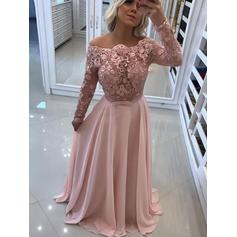 A-Line/Princess Off-the-Shoulder Floor-Length Prom Dresses With Lace
