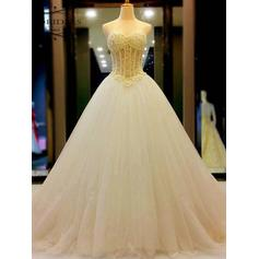 Ball-Gown Sweetheart Court Train Wedding Dresses With Beading