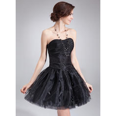A-Line/Princess Sweetheart Short/Mini Homecoming Dresses With Ruffle Sequins (022214031)