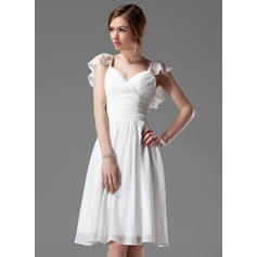 A-Line/Princess Chiffon Bridesmaid Dresses Beading Cascading Ruffles V-neck Sleeveless Knee-Length